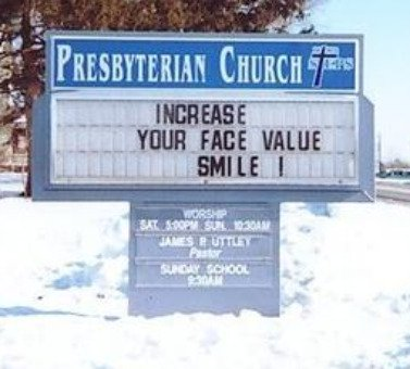 funny church sign, smile, christian