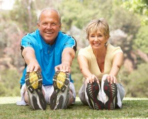 exercise old couple, stretching, staying healthy