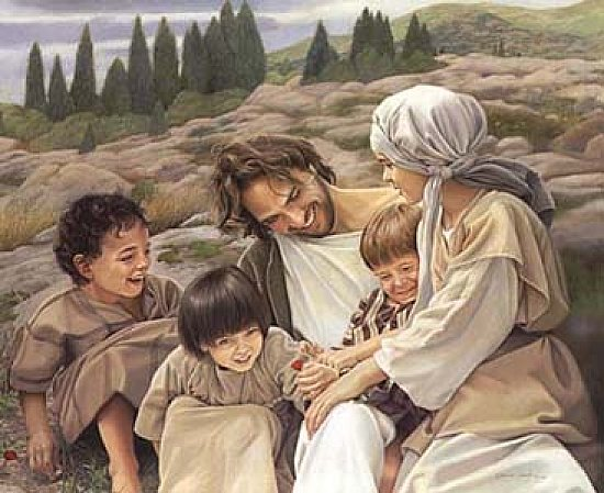 jesus laughing, playing with children, happy jesus